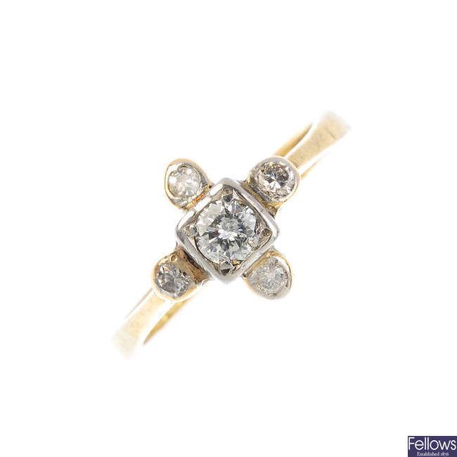 A mid 20th century 18ct gold diamond dress ring.