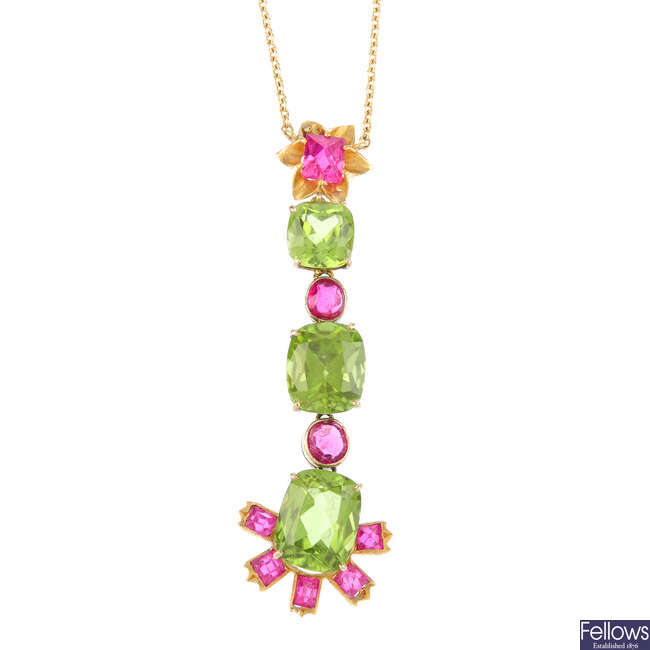 A set of peridot and spinel jewellery.