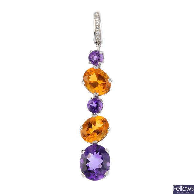 An 18ct gold diamond and gem-set pendant.