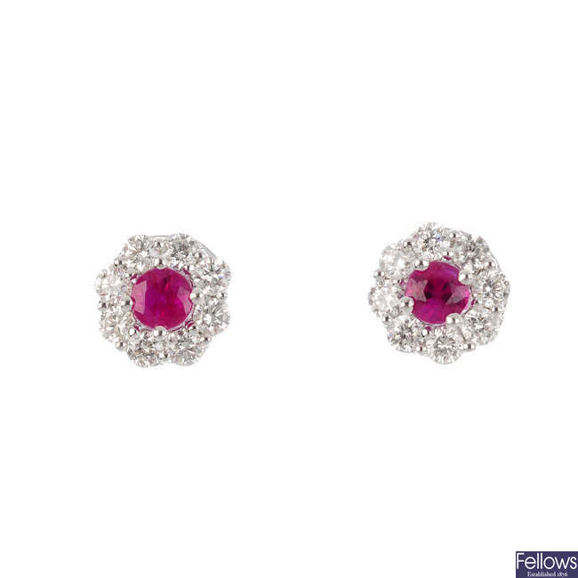 A pair of 18ct gold ruby and diamond earrings.