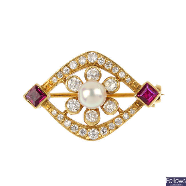An 18ct gold cultured pearl, ruby and diamond brooch.