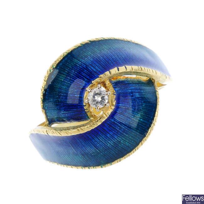 A diamond and enamel dress ring.