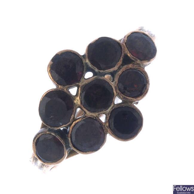 Three mid Victorian gold gem-set rings.