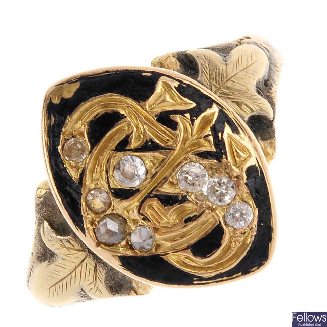 A late Victorian 15ct gold enamel and diamond ring.
