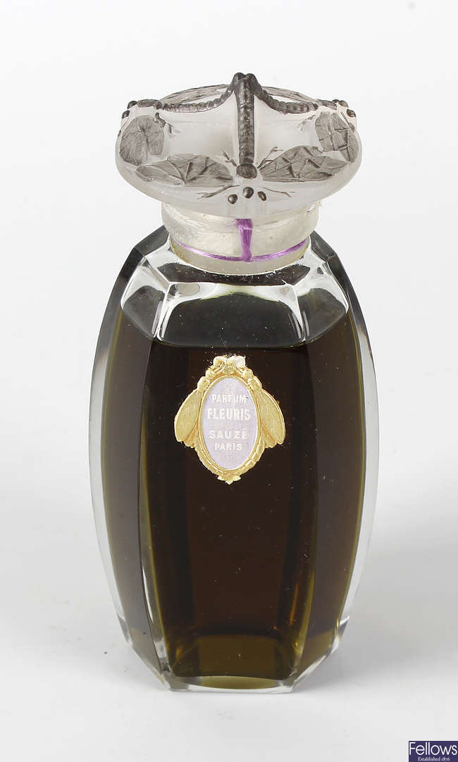 A vintage bottle of French Sauze Freres perfume.