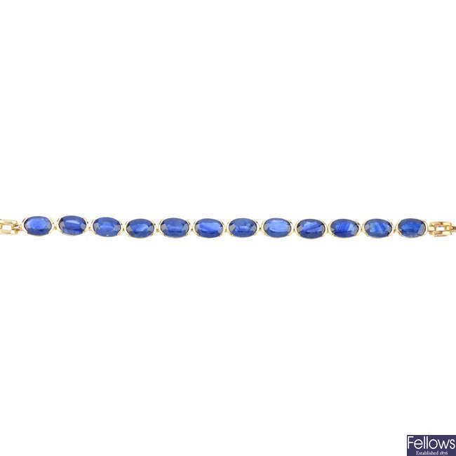 A sapphire bracelet.