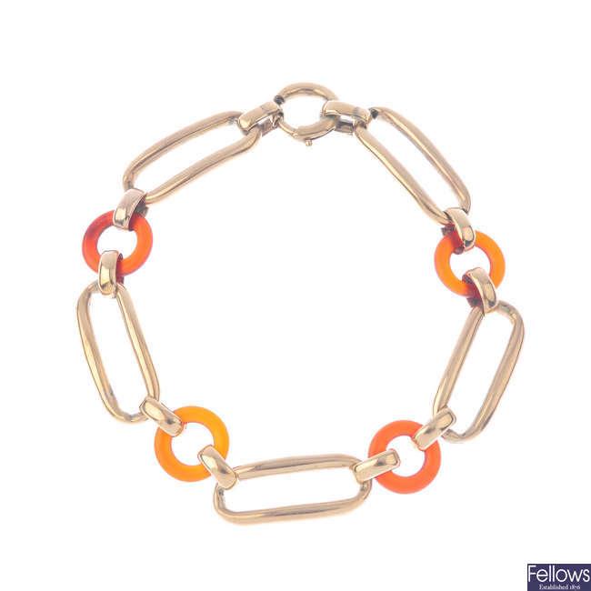 A carnelian bracelet.