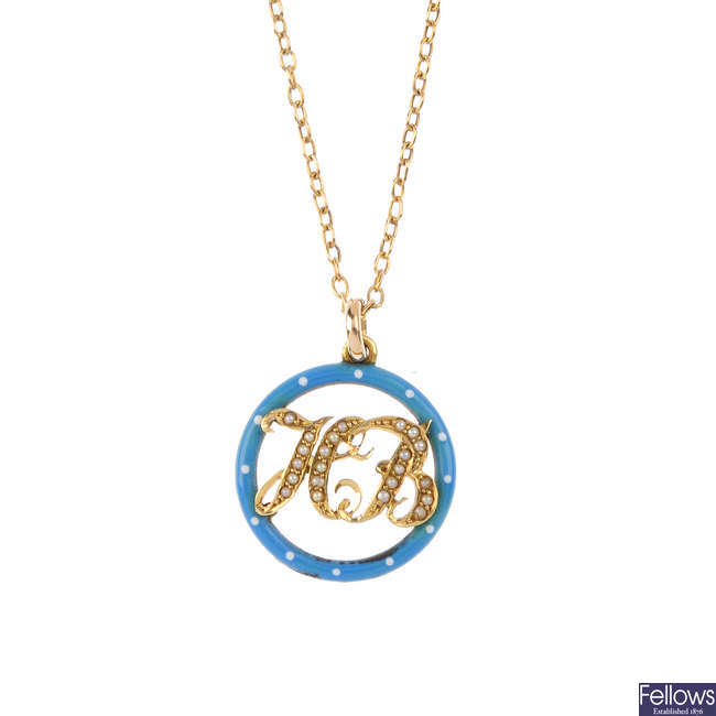 An enamel and split pearl pendant, with chain.