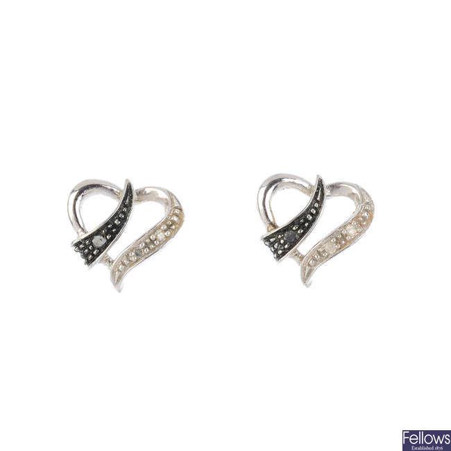 Seven pairs of gem-set earrings.