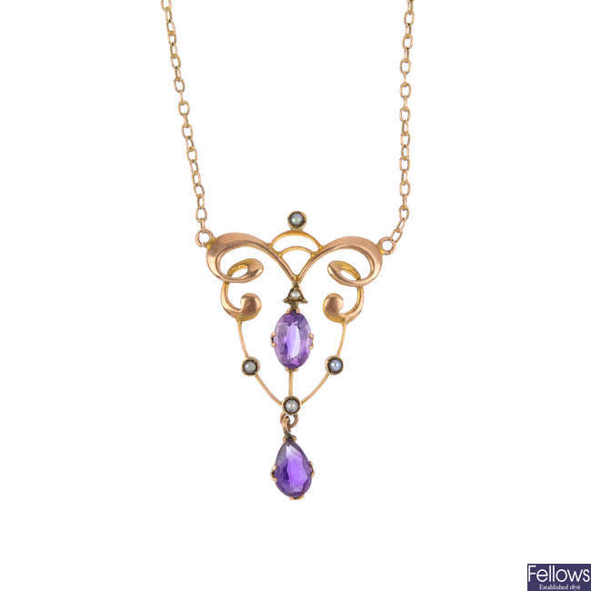 An early 20th century 9ct gold amethyst and seed pearl necklace.