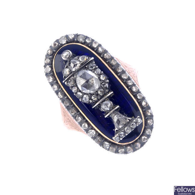A late Georgian diamond and enamel ring.