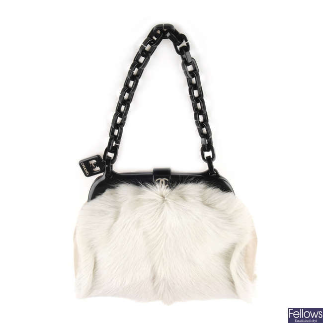 CHANEL - a fur No. 5 frame handbag.