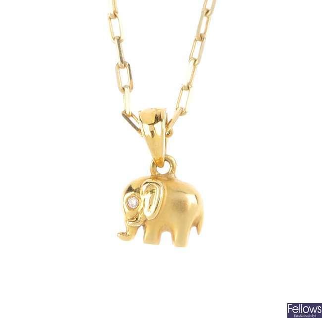 A diamond elephant pendant, with chain.