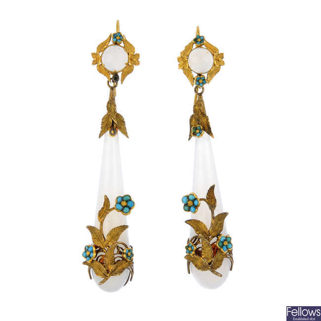 A pair of mid 19th century gold, chalcedony and turquoise forget-me-not foliate earrings.
