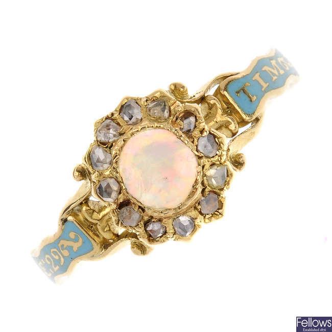 A George II opal, diamond and enamel memorial ring.