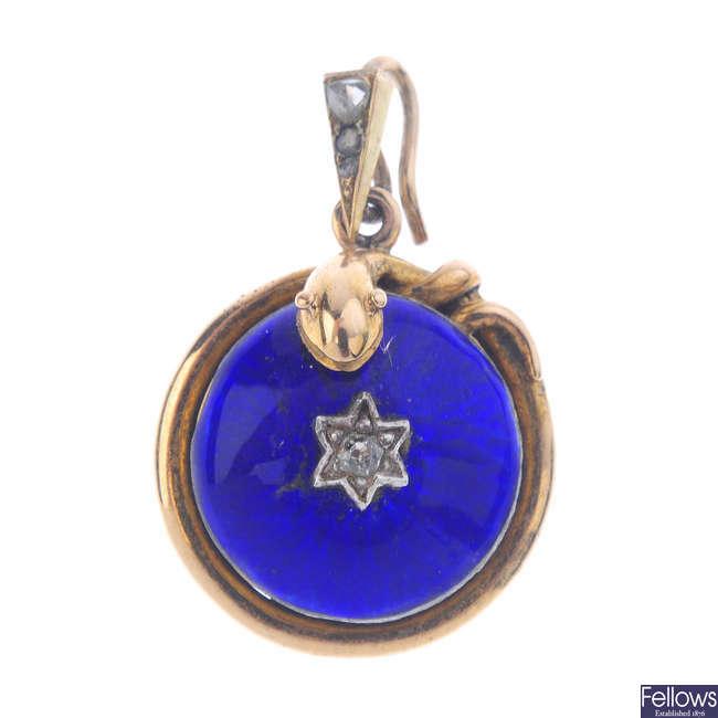 A mid Victorian diamond and enamel pendant.