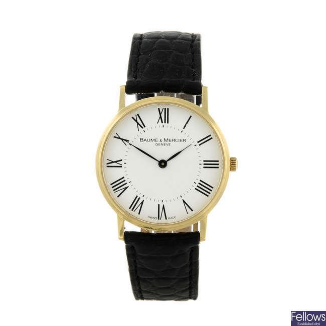 BAUME & MERCIER - a gentleman's 18ct yellow gold Classima wrist watch.