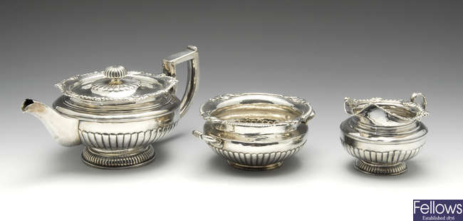 A late George III Irish silver matched three piece tea service.