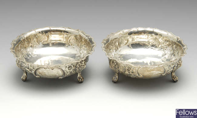 A pair of Victorian silver bonbon dishes.