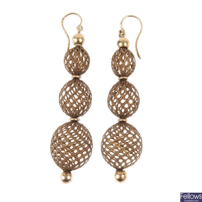 A pair of late Victorian hair earrings.