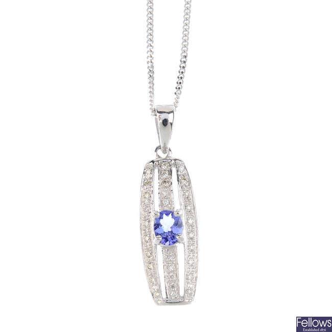 A diamond and tanzanite pendant, with 9ct gold chain.