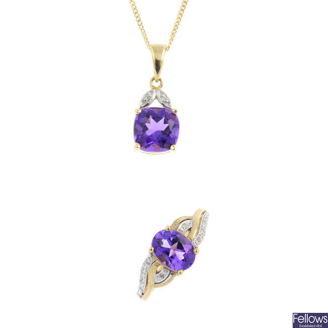 A selection of 9ct gold amethyst and diamond jewellery.