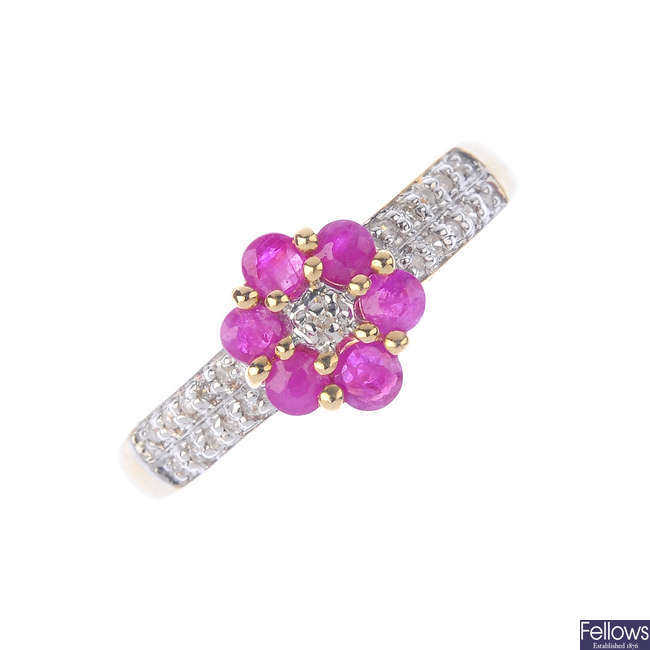 A 9ct gold ruby and diamond floral cluster ring.