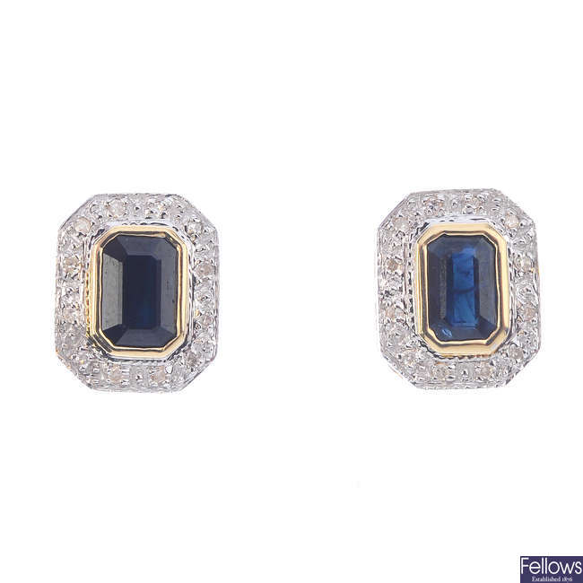 A pair of 9ct gold sapphire and diamond cluster stud earrings.