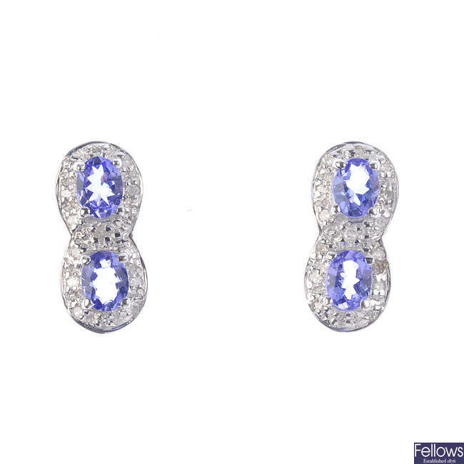 A pair of 9ct gold tanzanite and diamond earrings.