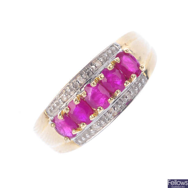 A 9ct gold ruby and diamond ring.