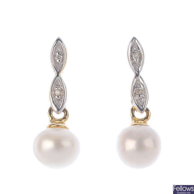 A pair of 9ct gold diamond and pearl earrings.