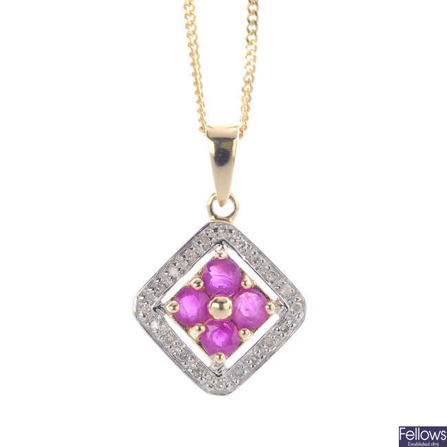 A 9ct gold ruby and diamond pendant, with chain.