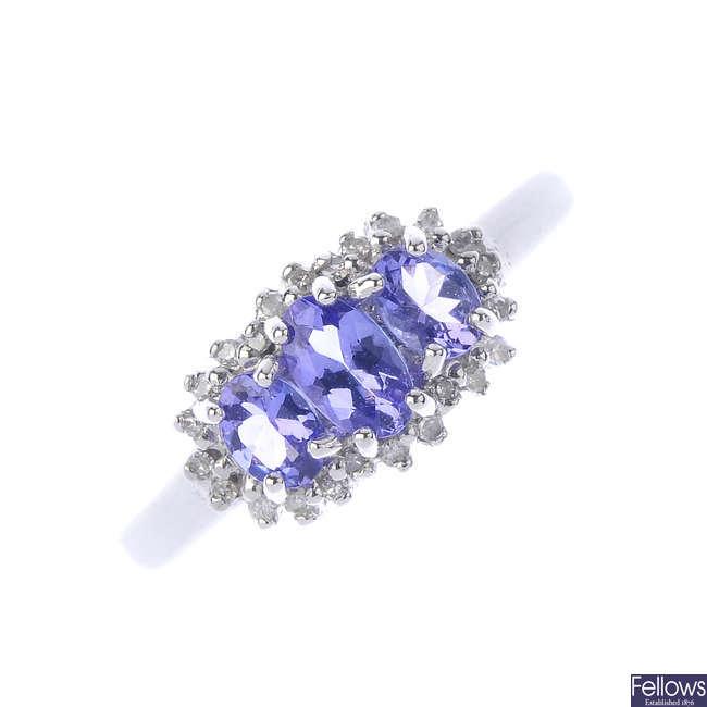 A 9ct gold tanzanite and diamond ring.