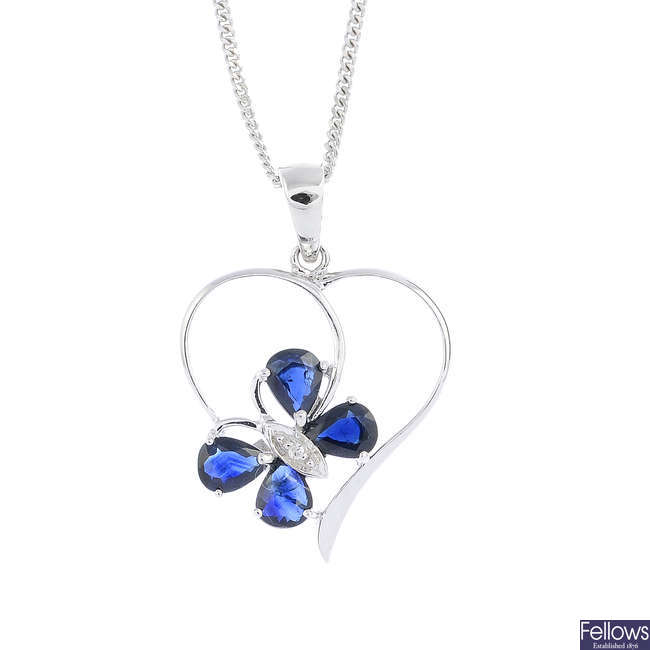 A 9ct gold diamond and sapphire  butterfly pendant, with chain.