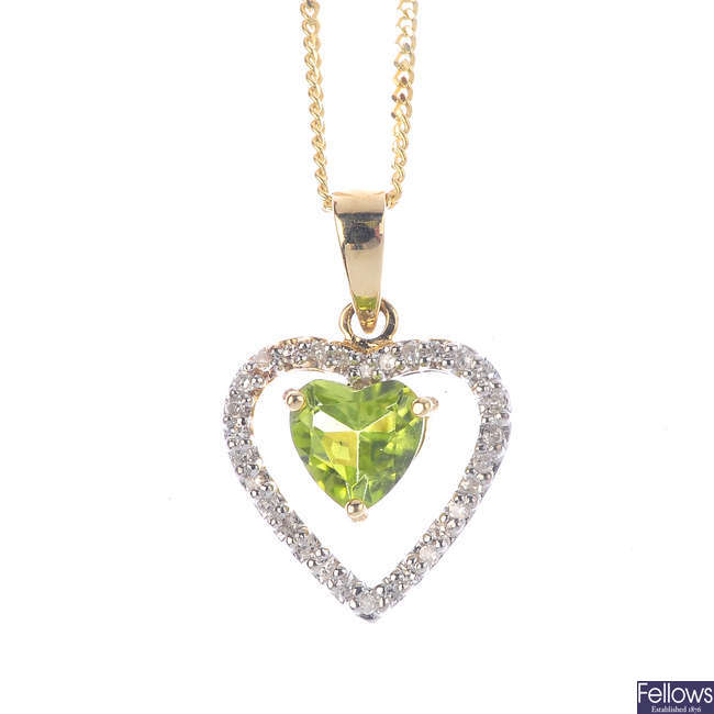 A 9ct gold peridot and diamond pendant, with chain.