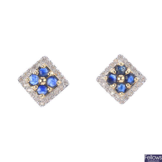 A pair of 9ct gold sapphire and diamond stud earrings.