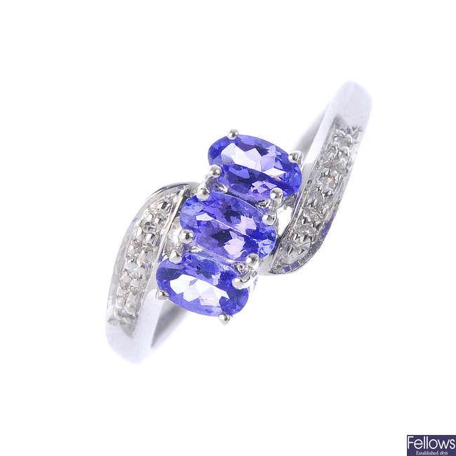 A 9ct gold tanzanite and diamond dress ring.