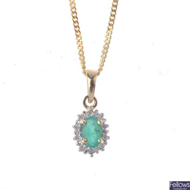 An emerald and diamond cluster pendant, with chain.