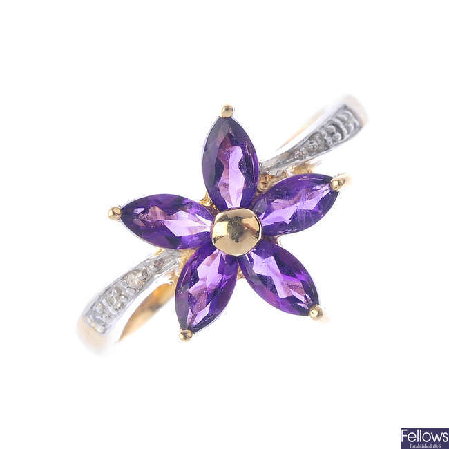 A 9ct gold amethyst and diamond floral dress ring.