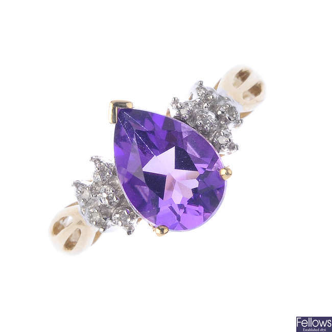 A 9ct gold amethyst and diamond dress ring.