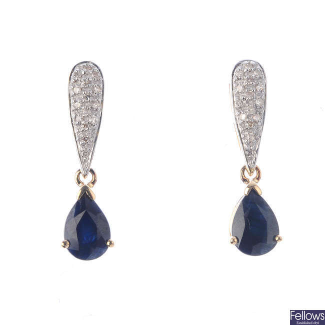 A pair of 9ct gold sapphire and diamond earrings.