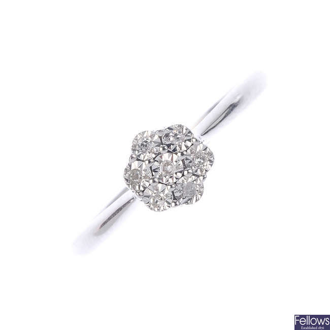 A 9ct gold diamond floral cluster ring.