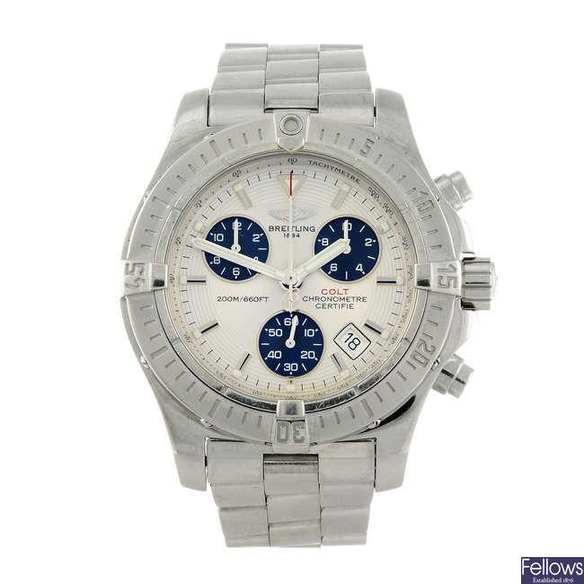 BREITLING - a gentleman's stainless steel Aeromarine Colt chronograph bracelet watch.