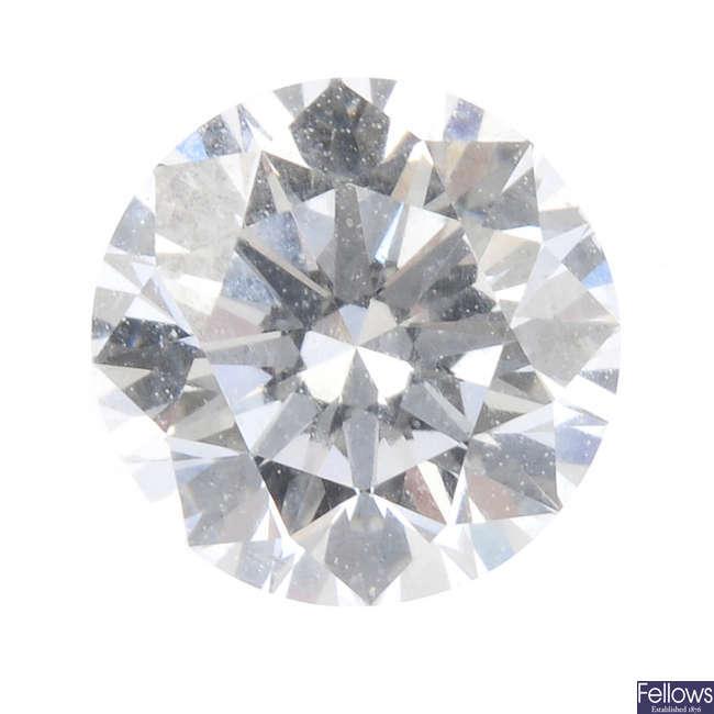 A brilliant-cut diamond, weighing 0.70ct.