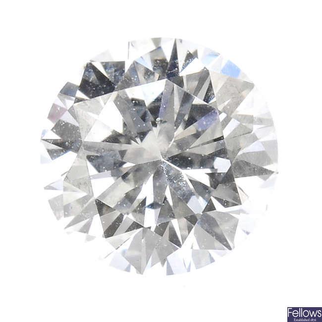 A brilliant-cut diamond, weighing 0.52ct.
