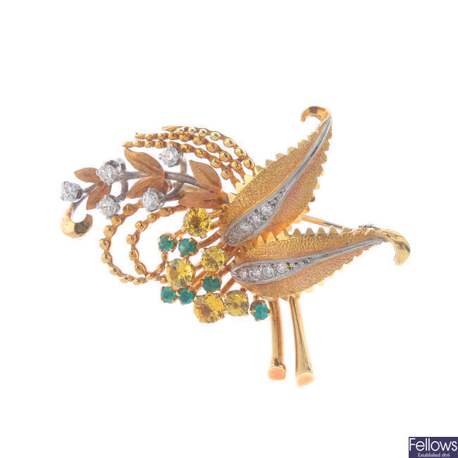 A mid 20th century 18ct gold diamond and gem-set brooch.