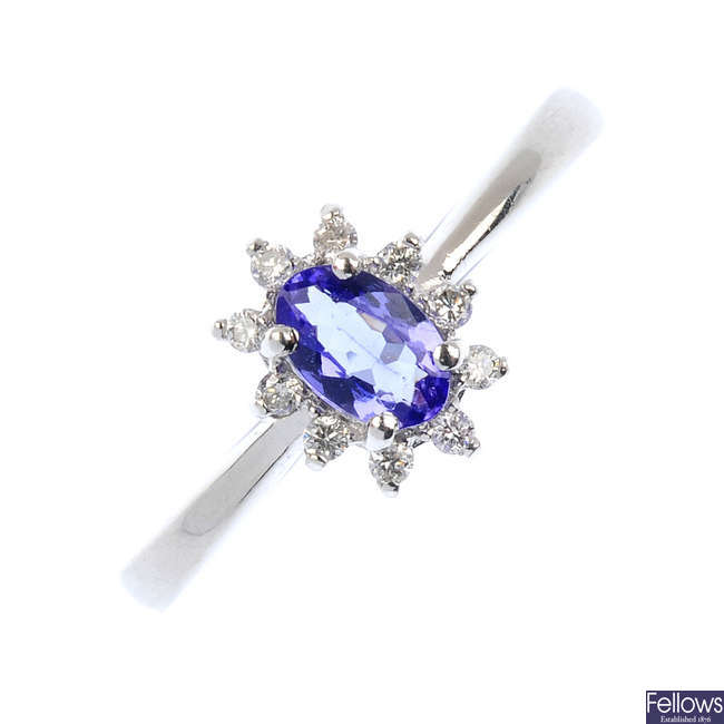 A platinum tanzanite and diamond cluster ring.
