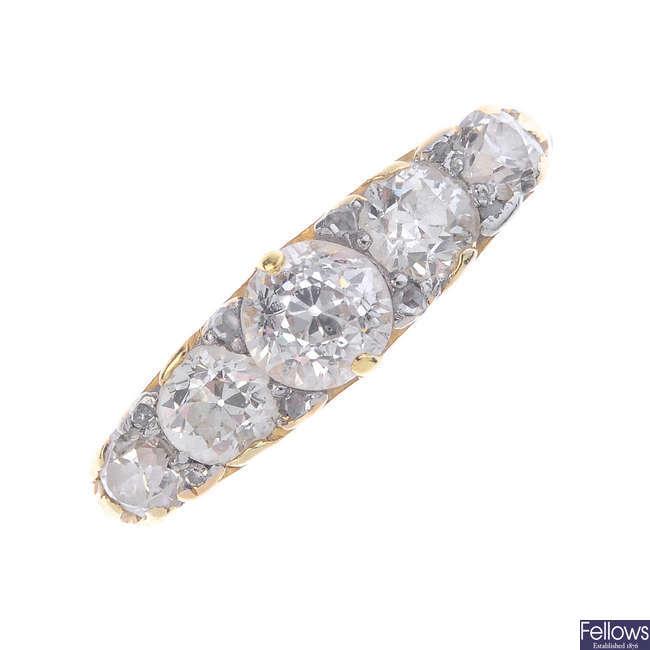 A late Victorian diamond five-stone ring.