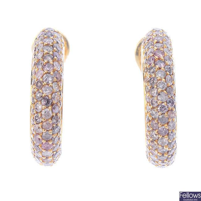 A pair of 'pink' diamond and diamond earrings.
