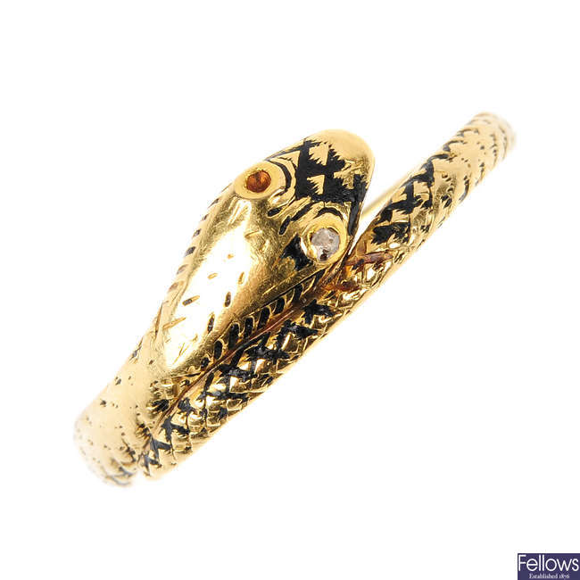 An early Victorian gold enamel and diamond snake ring.